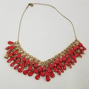 Gold Statement Necklace in Deep Salmon